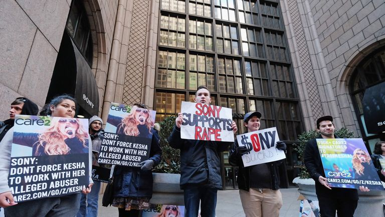 Kesha fans protest in front of Sony headquarters last year