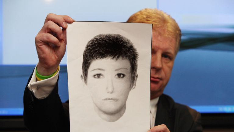 The McCanns' spokesman holds up an e-fit of the Victoria Beckham lookalike being sought