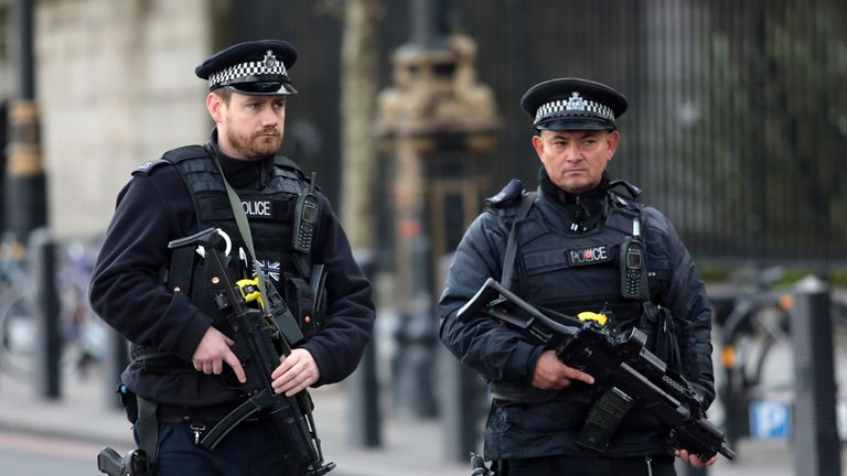 Armed officers outside Westminster Bridge in London following the terror attack.