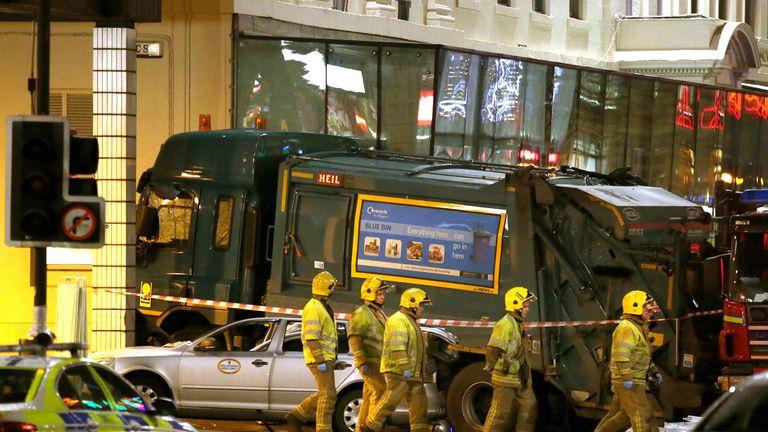 The scene after the Glasgow bin lorry crash