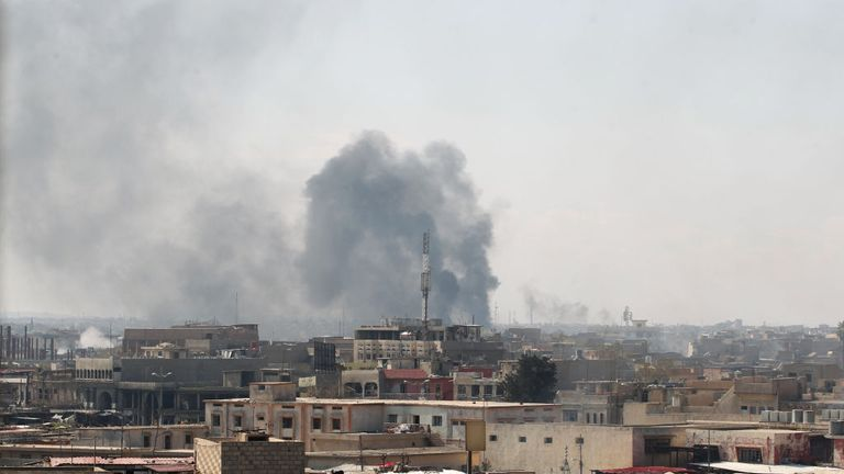 A coalition airstrike hits West Mosul in Iraq