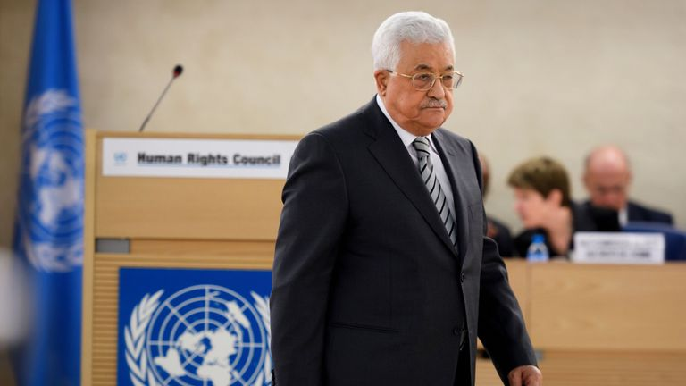 Mahmoud Abbas arrives to deliver a speech at the UN in Geneva
