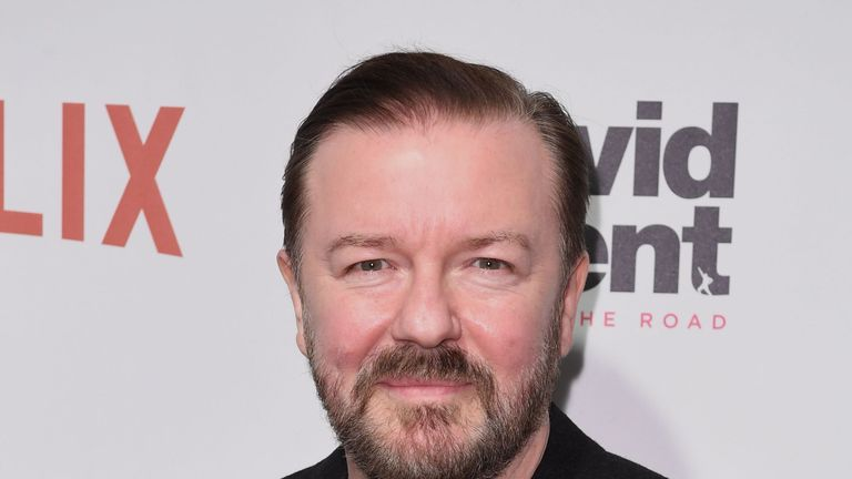 Ricky Gervais attends the David Brent: Life on the Road New York Special Screening at Metrograph on February 2, 2017 New York