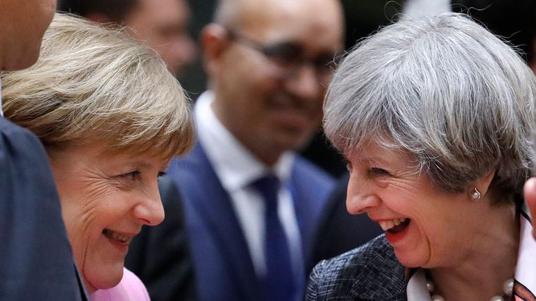 Theresa May and Angela Merkel at this week's EU summit