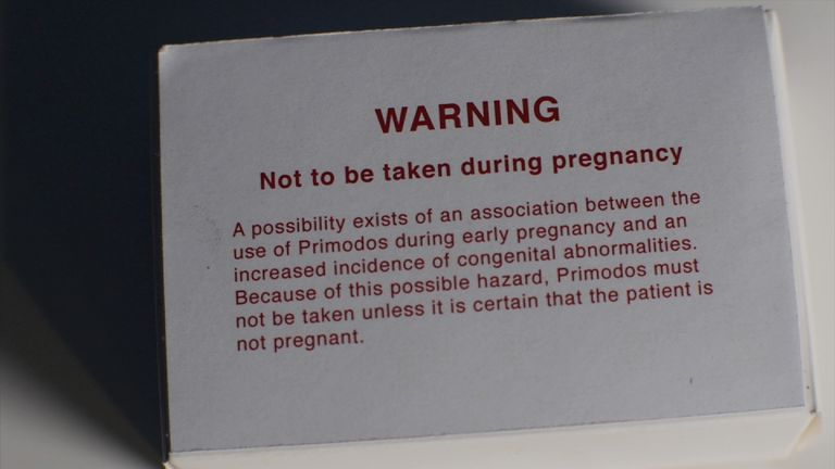A warning clearly states the drug should not be taken by pregnant women