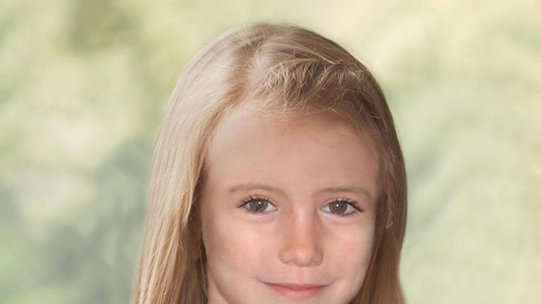 A computer generated image of how Madeleine may have looked aged nine. Pic: Teri Blythe