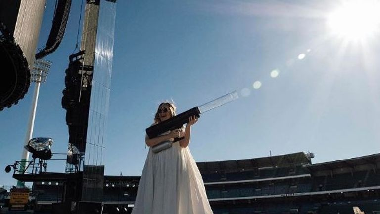 Adele posted this image of her playing with a giant water gun on Instagram