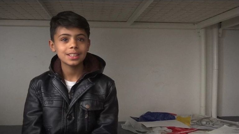 Farhad Nouri, 10, is an Afghan refugee who is also a talented artist