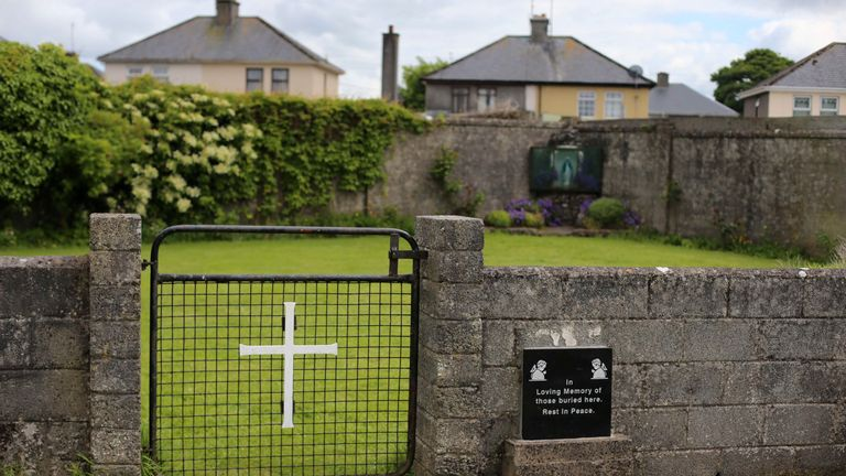 The entrance to what is believed to be the site of a mass grave in Tuam.