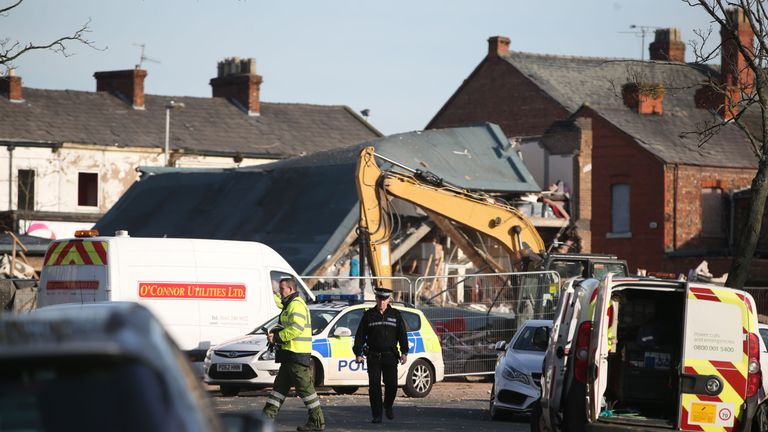 The area around the blast site remained cordoned off on Sunday.
