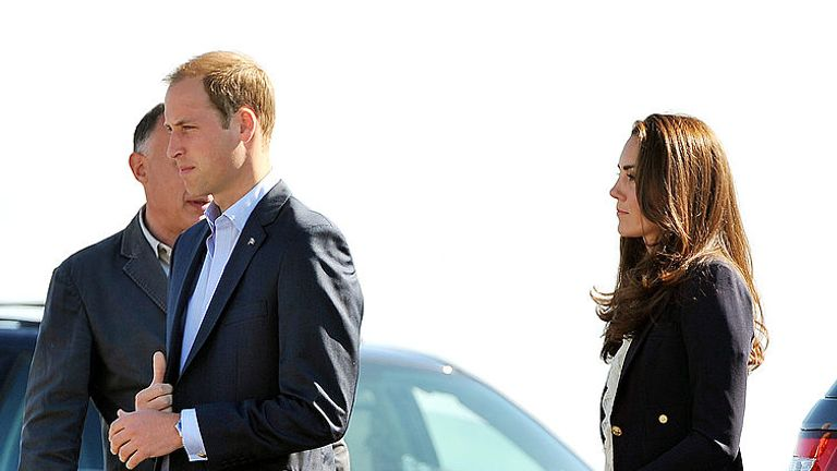 The Duke and Duchess of Cambridge arrive before boarding a plane at Yellowknife Airport