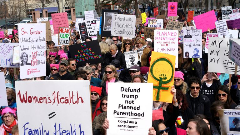 Planned Parenthood supporters at a protest in Denver