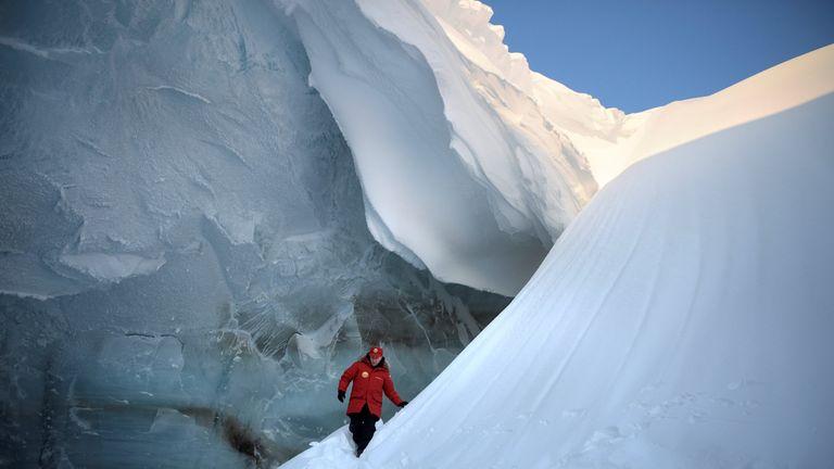 Russian President Vladimir Putin visits the cave of Arctic Pilots Glacier