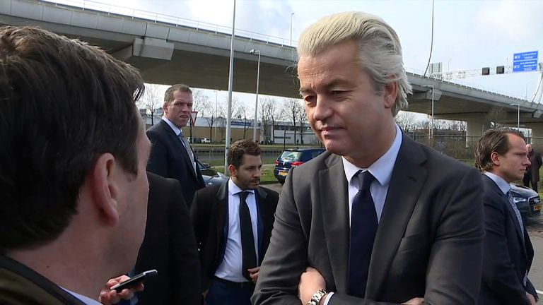 Geert Wilders answered questions from Sky's Mark Stone