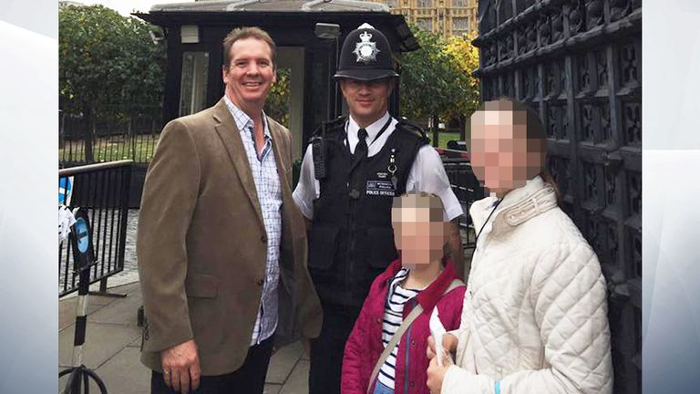 Australian Andrew Thorogood posted this photo of his family at the Houses of Parliament with Pc Keith Palmer as a tribute to the officer