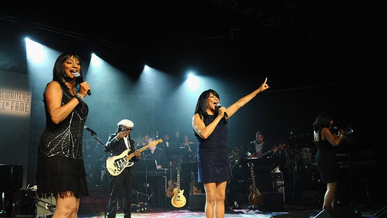 Joni Sledge, Debbie Sledge, and Kim Sledge perform onstage