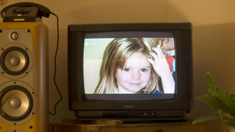 Madeleine's picture is displayed during an appeal on German television in 2013