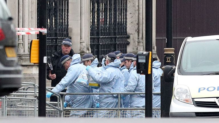 Police forensics at the gates of Houses of Parliament