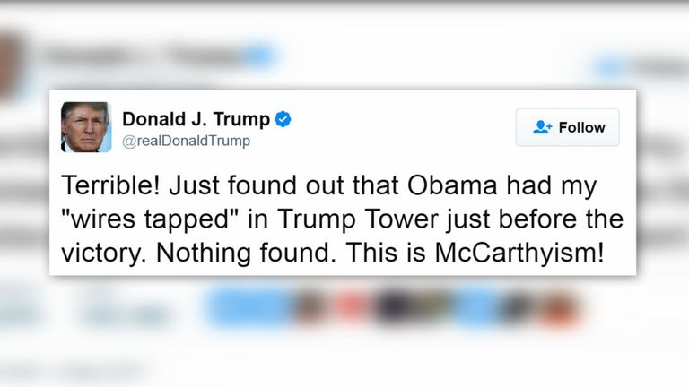 Donald Trump tweets the claim Barack Obama ordered surveillance of Trump Tower during the election.