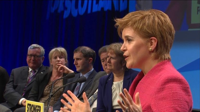 Nicola Sturgeon speaking at the SNP's spring conference in Aberdeen