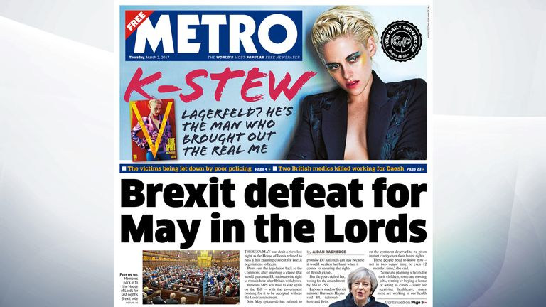 320bac895 Image  Theresa May suffered a setback after peers refused to pass a bill  granting consent for Brexit negotiations to begin