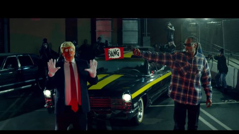 Snoop Dogg 'shoots' Donald Trump in a scene from his latest video