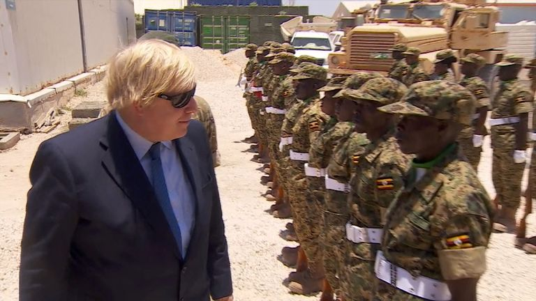 Boris Johnson meeting troops during his visit to Somalia