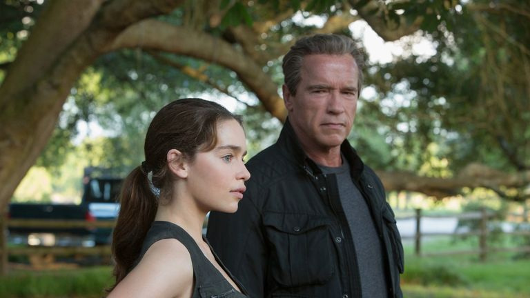 Arnie and Game of Thrones star Emilia Clarke in Terminator: Genisys