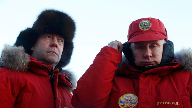 Russian President Vladimir Putin and Prime Minister Dmitry Medvedev visit Alexandra Land