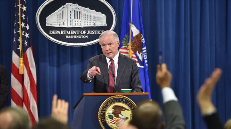 US Attorney General Jeff Sessions answers questions during a press conference at the US Justice Department on March 2, 2017, in Washington DC