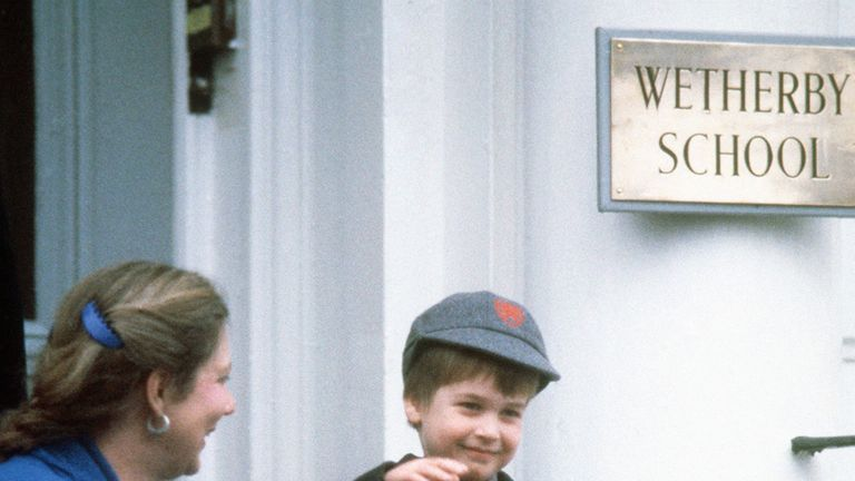 File photo dated 15/01/1987 of Prince William waving to onlookers after his first day at Wetherby School in Notting Hill Gate, London