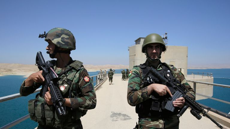 2014: Peshmerga fighters guard Mosul Dam after it was recaptured