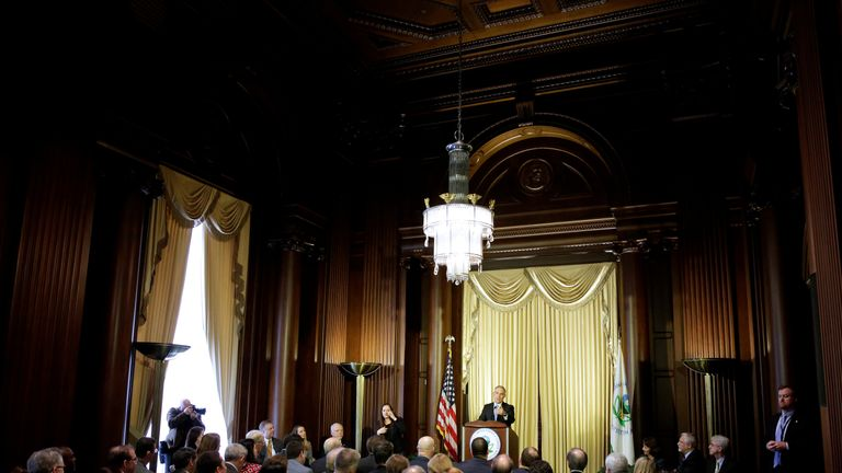 Scott Pruitt, Administrator of the US Environmental Protection Agency, addressing Agency employees in Washington
