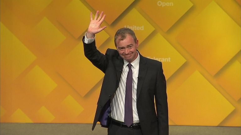 Lib Dem leader Tim Farron spoke to his party's conference in York