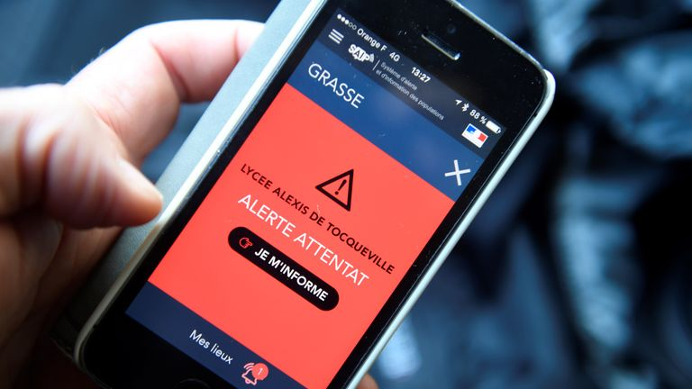 An alert has been sent to mobile phones about the attack