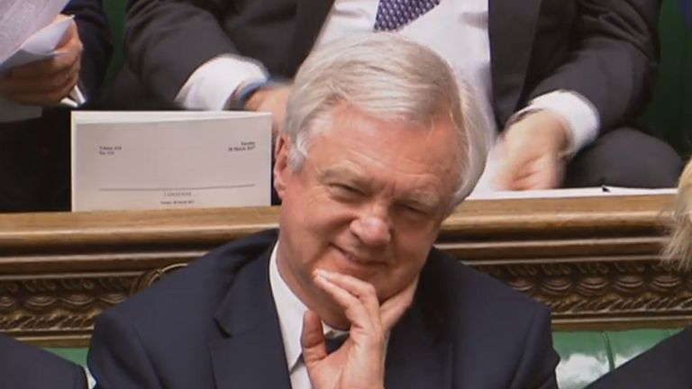 Brexit Secretary David Davis smiles after Prime Minister Theresa May announced that she has triggered Article 50