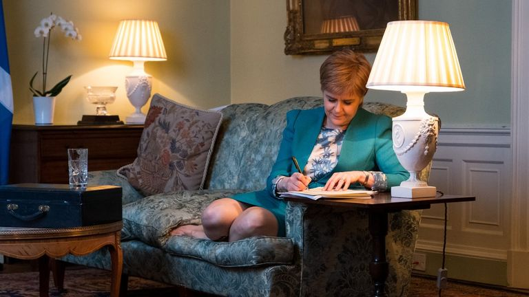 First Minister Nicola Sturgeon drafting a letter to Theresa May