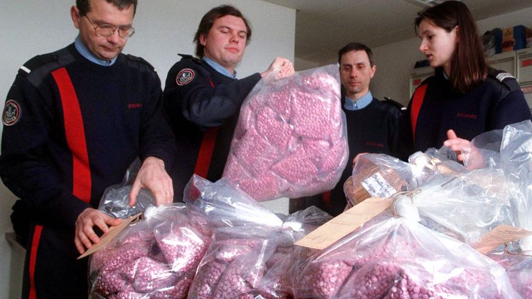 A haul of pink ecstasy tablets. File pic