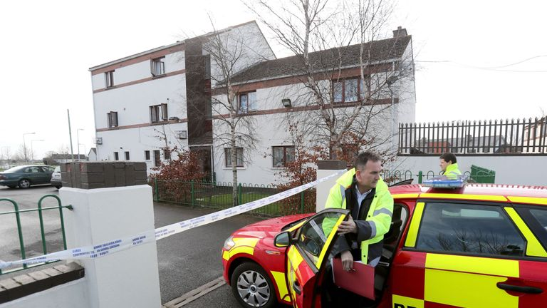 Emergency services at the scene of a flat fire in Dublin