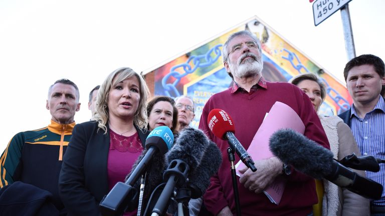 Sinn Fein President Gerry Adams holds a post-election press conference in Belfast, Northern Ireland