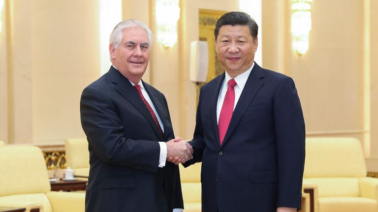 Chinese President Xi Jinping shakes hands with US secretary of state Rex Tillerson