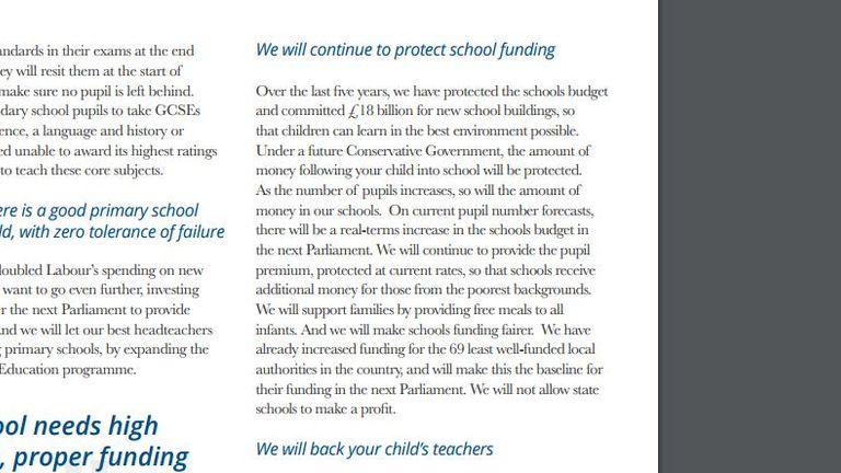 Tory manifesto pledge