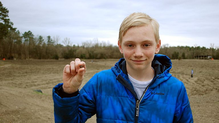 Kalel Langford, 14, found the 7.44 carat diamond in a stream. Pic: Crater of Diamonds State Park