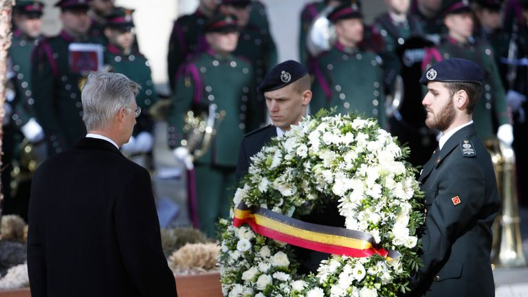 King Philippe lays a wreath at the Maelbeek metro station in Brussels