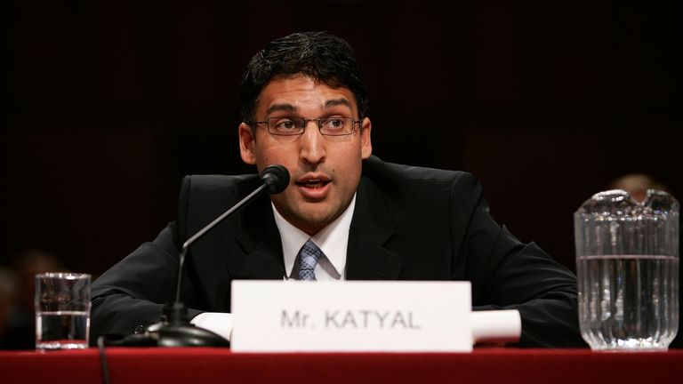 Georgetown University Law Center professor Neal Katyal testifies during a hearing before the Senate Armed Services Committee April 26, 2007 on Capitol Hill in Washington, DC. The committee was hearing testimony on legal issues related to individuals detained by the U.S. as unlawful enemy combatants