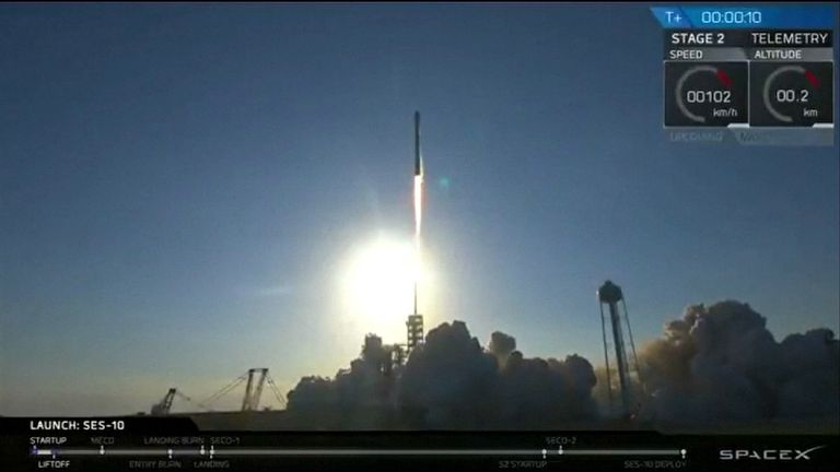 SpaceX's Falcon 9 rocket lifts off