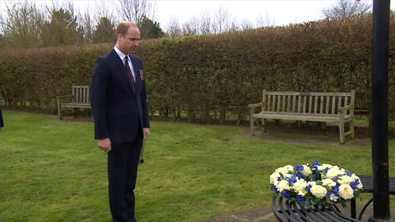 Prince William lays a wreath in memory of PC Keith Palmer at the National Arboretum