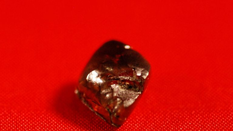 The brown diamond is the size of a pinto bean