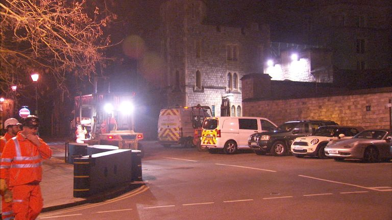 New barriers are put up outside Windsor Castle