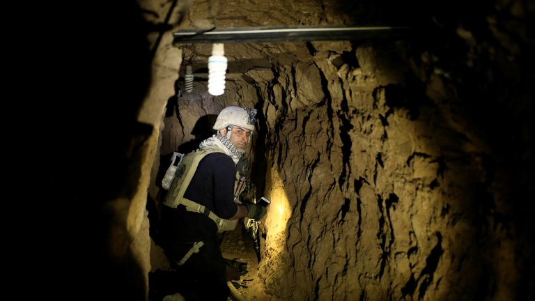 October 2016: An Iraqi special forces soldier clears a tunnel used by IS militants in Bazwaya, east of Mosul